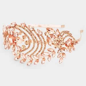 Rose Gold Floral Vine Teardrop Crystal Headband